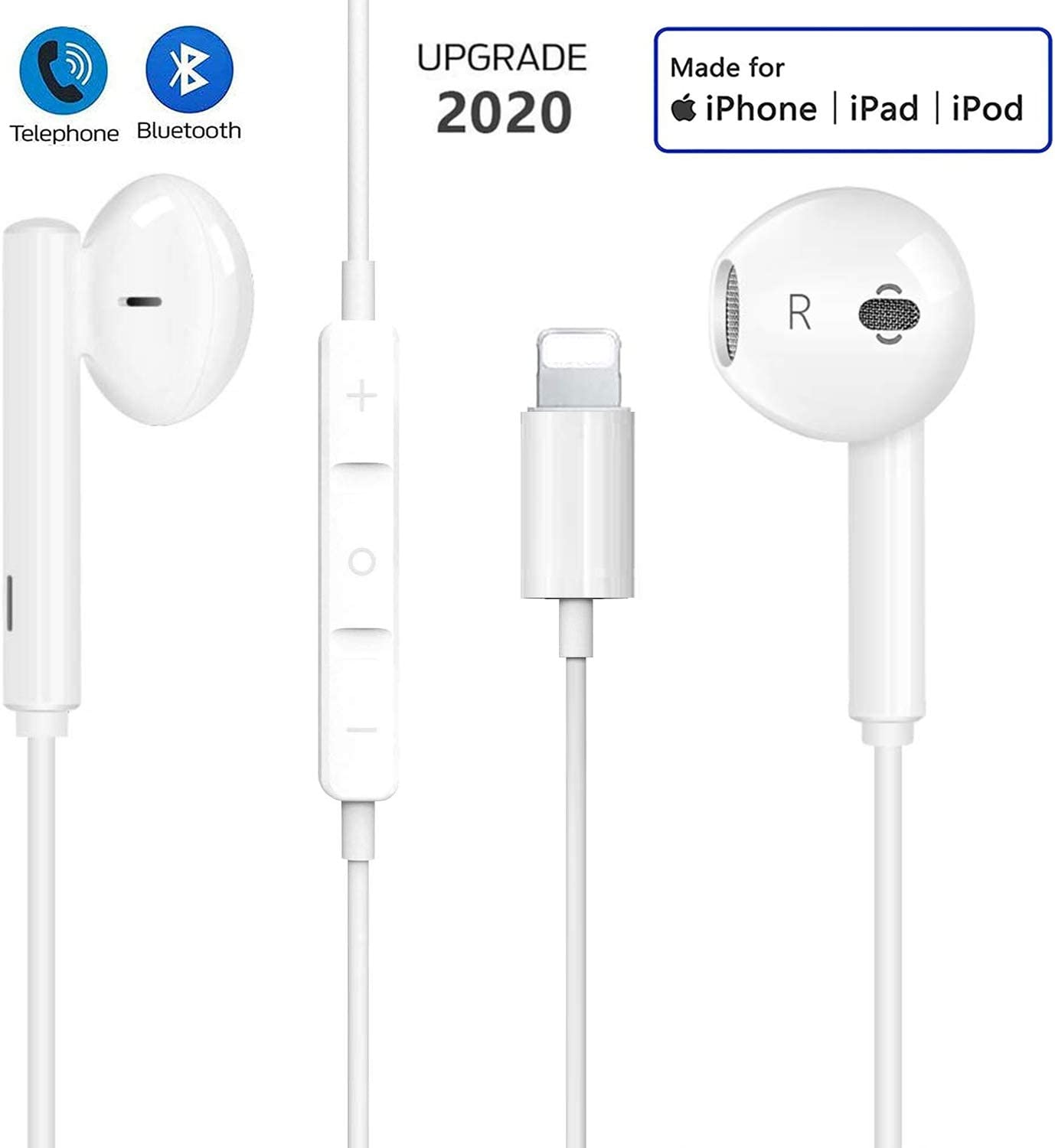 Lighting Earphones For iPhone Earbuds in Ear Wired Headphone Headest Privode Mic and Volume Control Compatible With iPhone