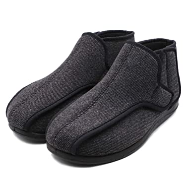077bef38ba42 Mens Extra-Depth Wide Slippers Diabetic Edema Boot Adjustable Fuzzy Coral  Fleece Lining Shoes for
