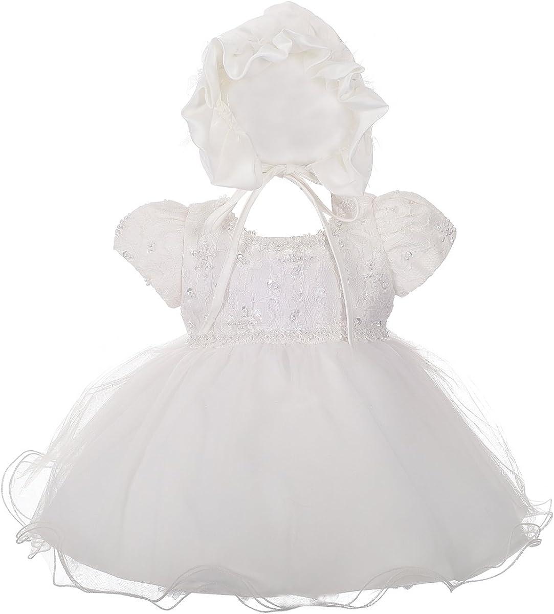 Lito Angels Baby M/ädchen Taufkleid Taufkleid mit Haube Hochzeit M/ädchen Kleid Perlenspitze Elfenbein
