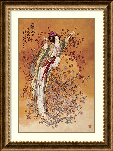 Framed Art Print, 'Goddess of Wealth' by Chinese: Outer Size 24 x 32