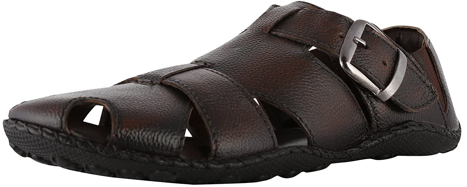 9d34a7f9e5559 Merry Care Men s Brown Leather Sandals 9 - Uk  Buy Online at Low Prices in  India - Amazon.in