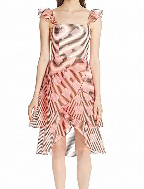 Alice + Olivia Womens Dress Pink A Line Striped Tiered Red 8