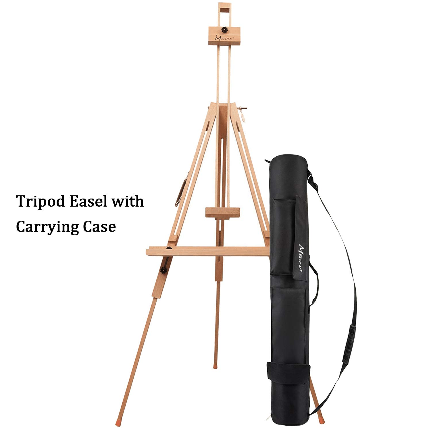 Hold Canvas up to 44 Landscape Artists Solid Beech Wood Universal Tripod Easel Portable Painting Artist Easel MEEDEN Tripod Field Painting Easel with Carrying Case Perfect for Painters Students