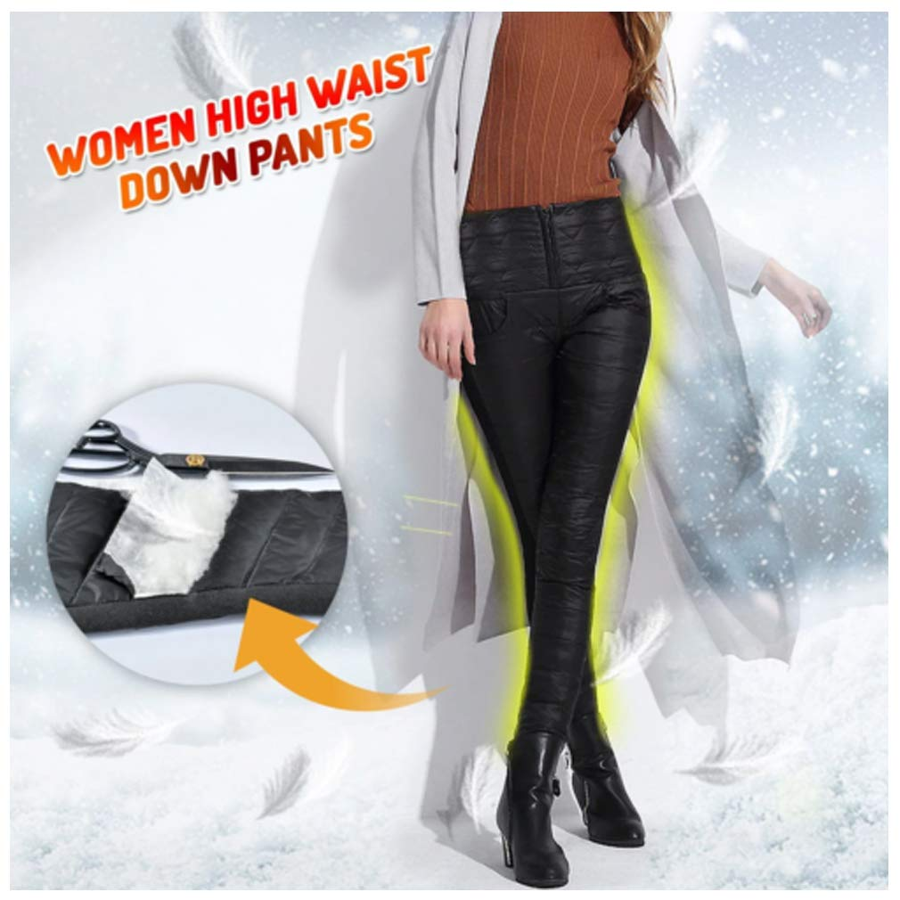 Women Winter Warm Utility Down Pants High Waisted Snow Trousers Skiing Pants Camping Pants Women High Waist Down Pants