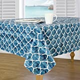 Everyday Luxuries by Newbridge Berkeley Island Flannel Backed Indoor Outdoor Vinyl Table Linens, 60-Inch by 84-Inch Oblong (Rectangle) Tablecloth