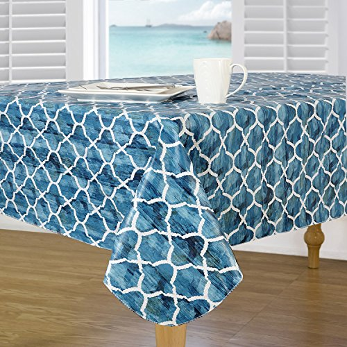 Everyday Luxuries by Newbridge Berkeley Island Flannel Backed Indoor Outdoor Vinyl Table Linens, 70-Inch Round Tablecloth by Everyday Luxuries by Newbridge