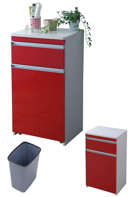 JKプラン 光沢のある 鏡面 仕上げ ミニ キッチンカウンター ゴミ箱収納 付き 幅 50 カウンター 引き出し 付き キャスター付き 高さ 90 収納 棚 ラック レッド TSFPL00005RE B07BN61RTT レッド レッド