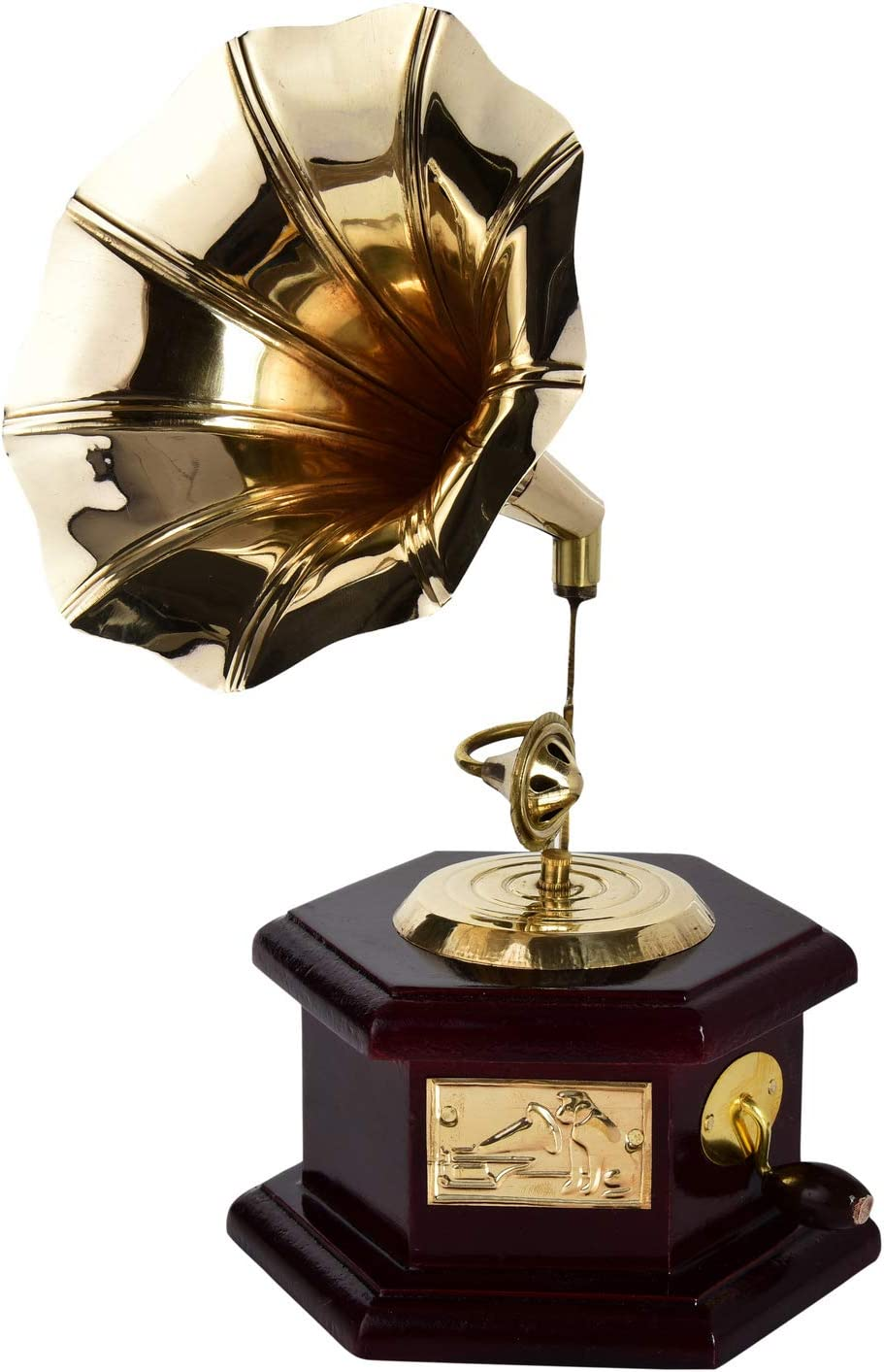 diollo Decorative Gramophone Antique Style Wooden Brass Showpiece Indian Handmade Living Room Table Piece Home Décor