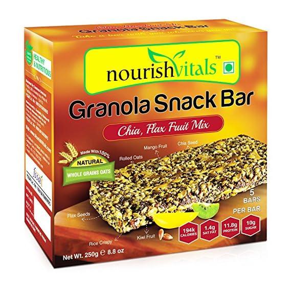 NourishVitals Granola Snack Bar (Chia, Flax Fruit Mix, 250g) - 5 Bars