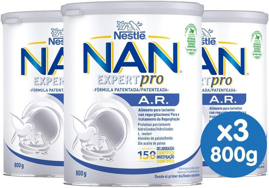 NAN AR - Alimento en polvo para lactantes con regurgitaciones Desde el primer día 800 g - Pack de 3
