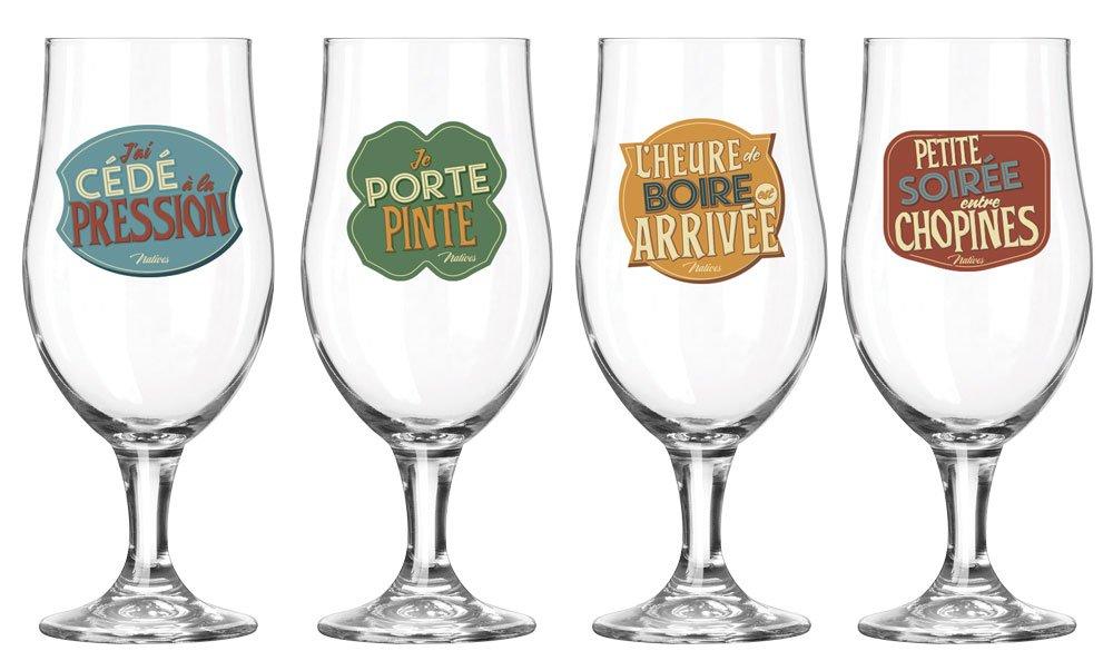 Natives 611740 Lheure de Boire Set de 4 Bière Verre Multicolore 9,9 x 5 x 7 cm 4 pièces