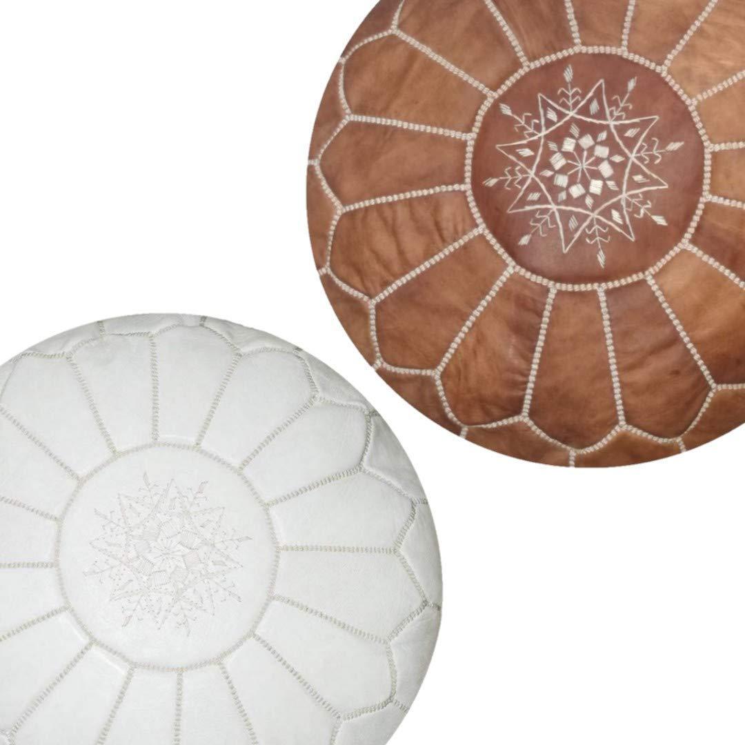 2 White Authentic MOROCCAN POUF Leather Pouf Ottoman Pouffe footst