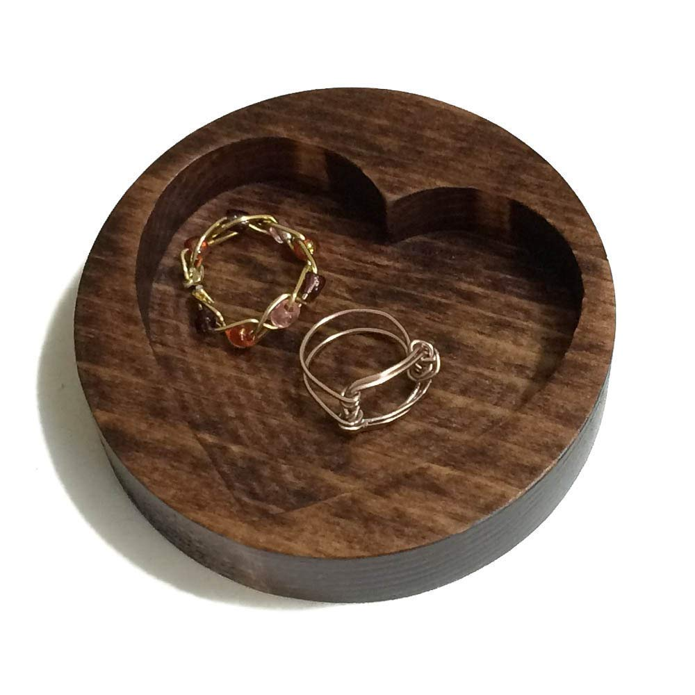 Wooden Ring Holder Heart Shaped Dish For Rings Or Earrings