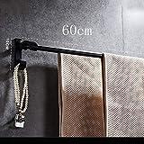 YXN Space Aluminum Bathroom Towel Rack Black Kitchen Hook Double Towel Rack Metal Pendant Bathroom Hanging Rod (Size : Without Hook)