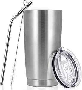 20 oz Stainless Steel Vacuum Insulated Coffee Tumbler, Double Walled Travel Mug with Straw and Leak-proof Lid, Birthday Ideas for Man & Women