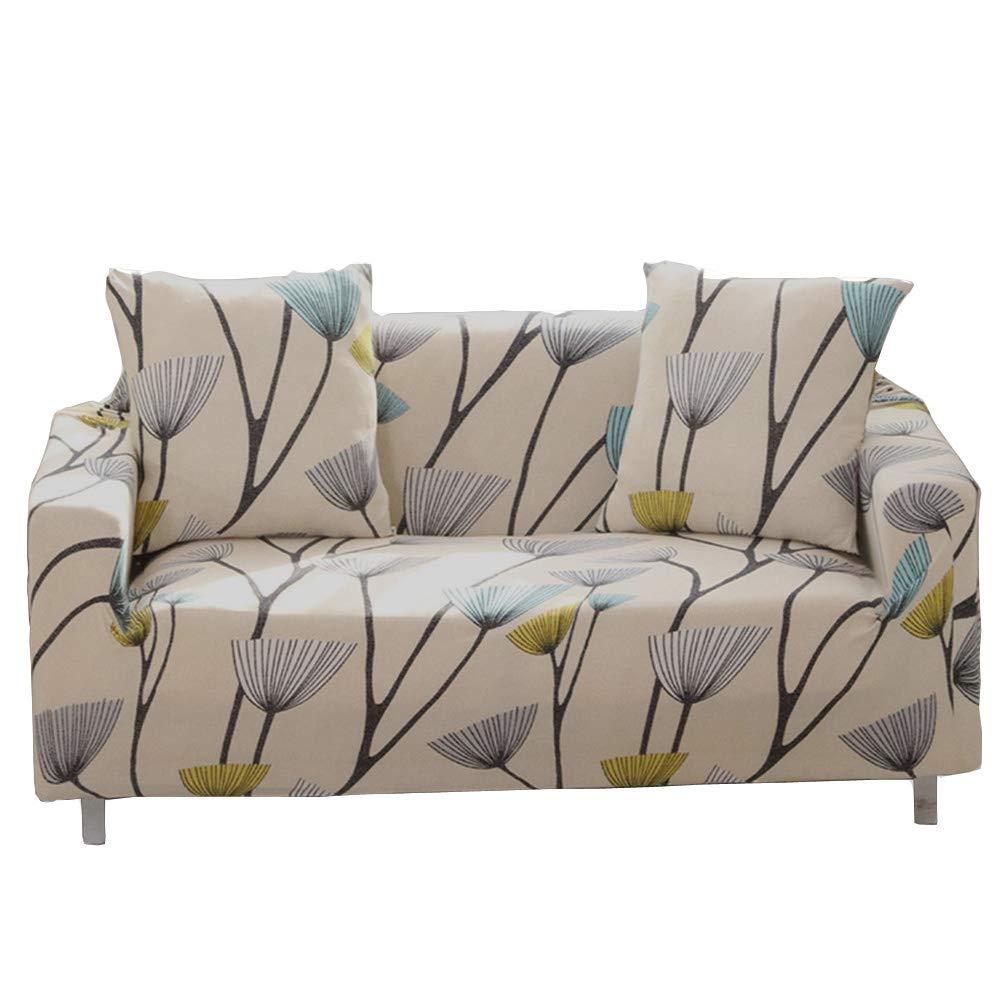ENZER Funda de sofá Tejido Elástico Flor Pájaro Sofá Proteger Cubre sofá 2 Plazas(145-185cm),Dientes de leon(Dandelion)