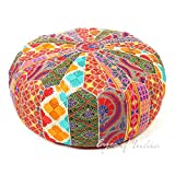 Eyes of India - 22 X 8 Colorful Round Ottoman Pouf Pouffe Cover Floor Seating Bohemian Boho Indian