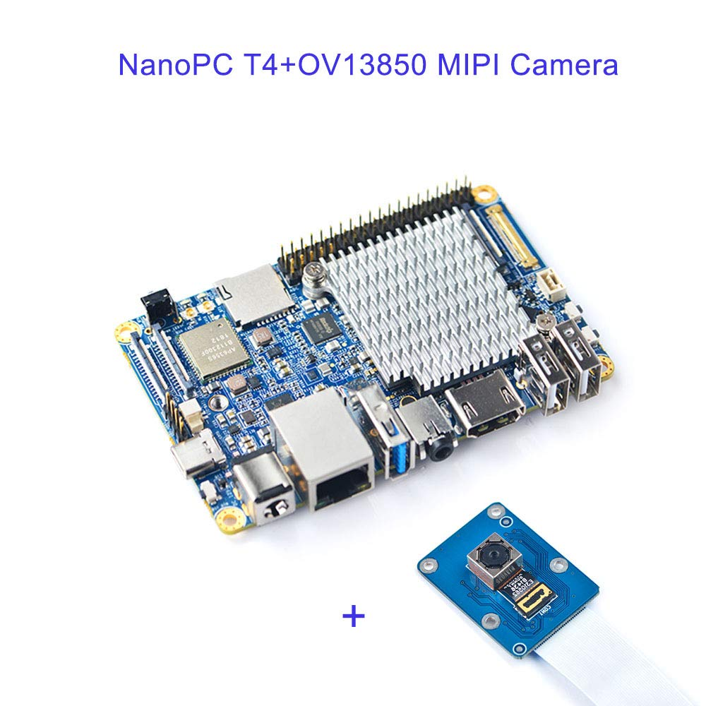 NanoPC-T4 Open Source RK3399 ARM Development Board LPDDR3 RAM 4GB Gbps Ethernet,Support Android and Ubuntu, AI and deep Learning,Ship with OV13850 MIPI Camera Module