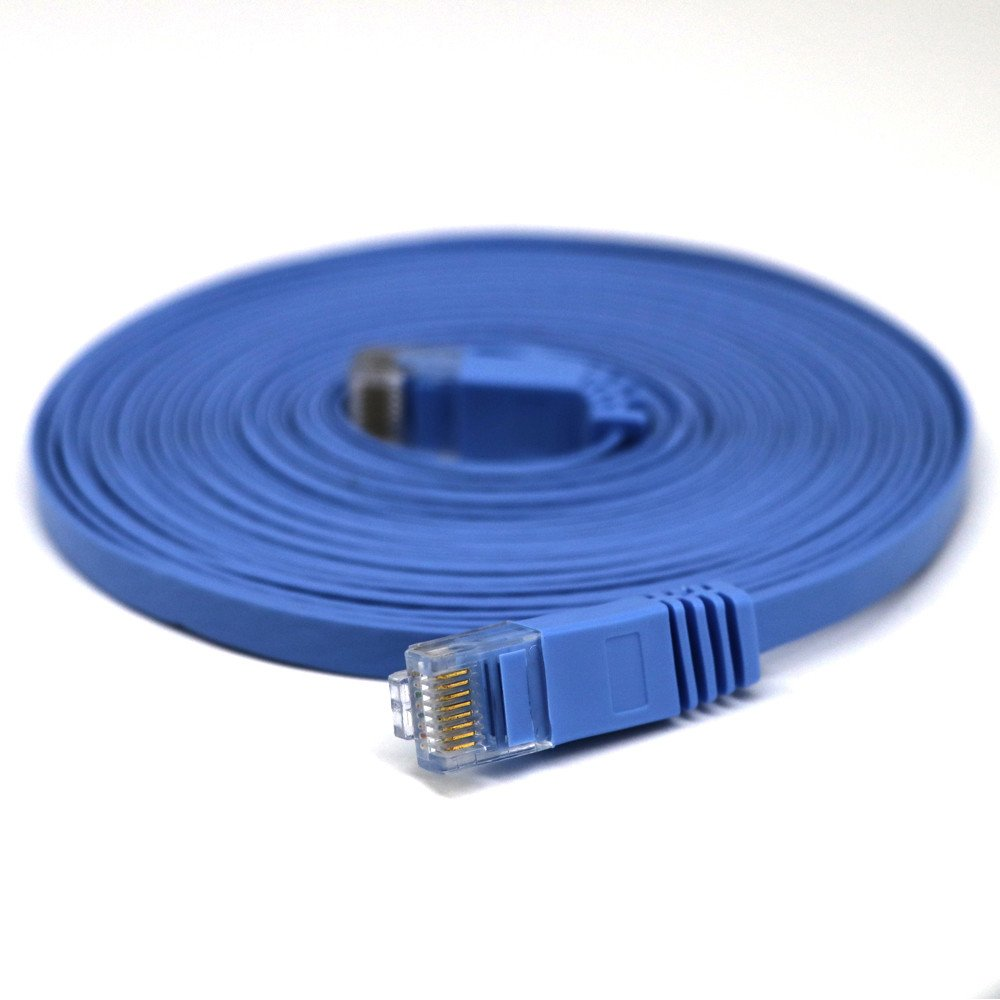 Fygrend RJ45 CAT6 Ethernet Network LAN Cable Flat UTP Patch Router Interesting Lot 1M 2M 3M 5M 10M 15M 20M extension Drop Ship[ blue 1m ]