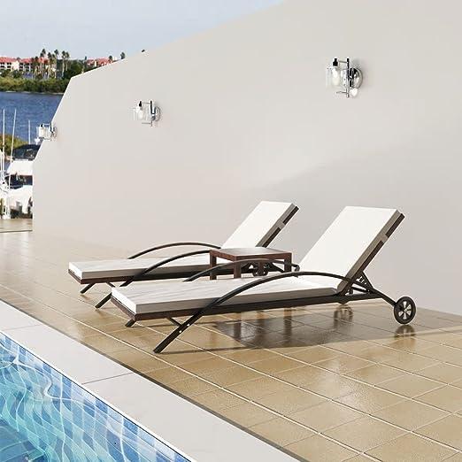 SHENGFENG Conjunto de Tumbonas Jardin Exterior Marrón + Blanco Crema, 3 Piezas, Ratán PE + Acero, Tumbona Plegable Tumbona Piscina 200 x 65 x 39 cm: Amazon.es: Jardín