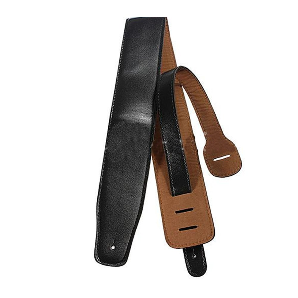 Estone Adjustable Soft PU Leather Thick Strap For Electric Acoustic Guitar Bass Black