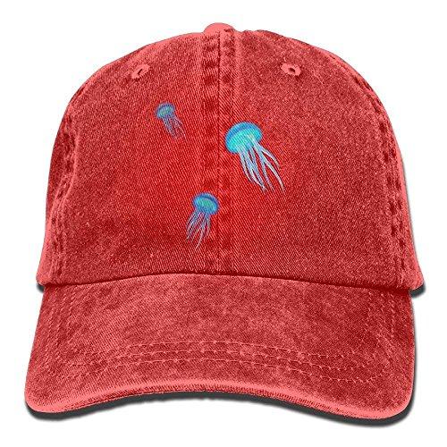JHDHVRFRr Hat Jellyfish Blue Denim Skull Cap Cowboy Cowgirl Sport Hats for Men Women