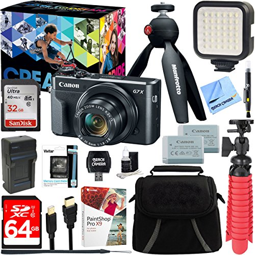 Canon PowerShot G7 X Mark II 20.1MP 4.2x Optical Zoom Digital Camera Video Creator Kit + 64GB SDXC Memory Card + Accessory Bundle by Beach Camera