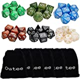 Outee 6 x 7 (42 Pieces) Polyhedral Dice in Multiple Colors, 6 Complete set of d20, d12, two d10 (00-90 and 0-9), d8, d6, and d4