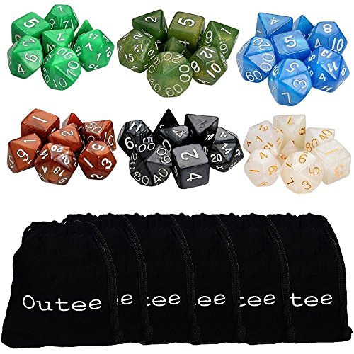 Outee 6 x 7 (42 Pieces) Polyhedral Dice and Dice with 6 Complete Dice set for Dungeons and Dragons DND RPG MTG D20 D12 D10(00-90 and 0-9) D8 D4 Table Games