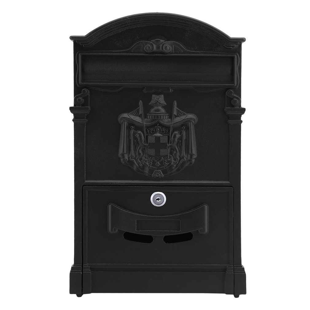 Homgrace Outside Aluminum Wall Mount Post Box Mailbox Newspaper Letterbox with High Security Reinforced Lock, Retro Vintage European Style (Black)