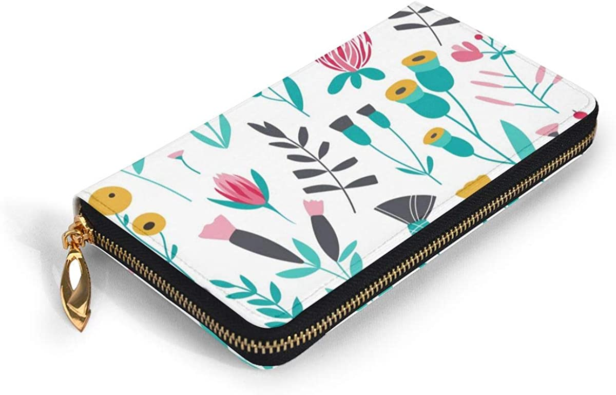 Leather Wallet Pink Flower Reversible Striped Women Men Travel Long Purse Zip Around Clutch Pouch ID Credit Card Coin Wallets