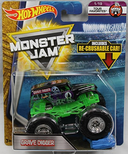 Hot Wheels Monster Jam 2018 Tour Favorites Grave Digger (With Re-Crushable Car)]()