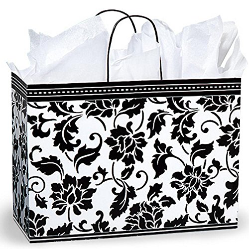 Floral Brocade Paper Shopping Bags - Vogue Size - 16 x 6 x 12 1/2in. by NW