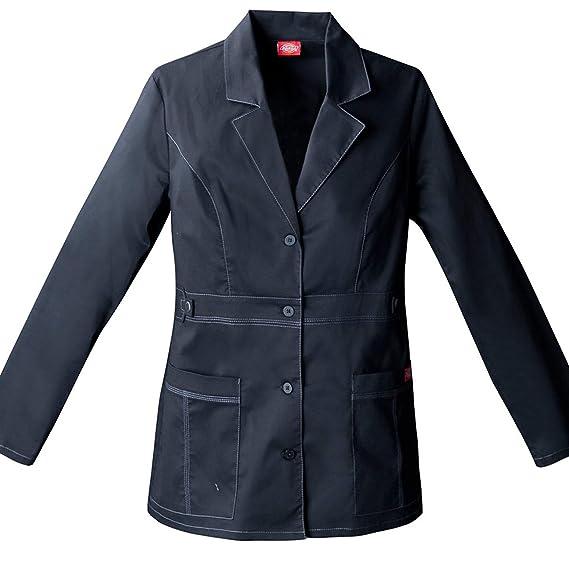 "4766acf5a5c Dickies Women's 28"" Gen Flex Contrast Stitch Lab Coat_Black_XX-Small  ..."