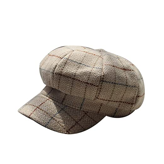 Sfe Men And Women British Retro Plaid Beret Outdoor Leisure