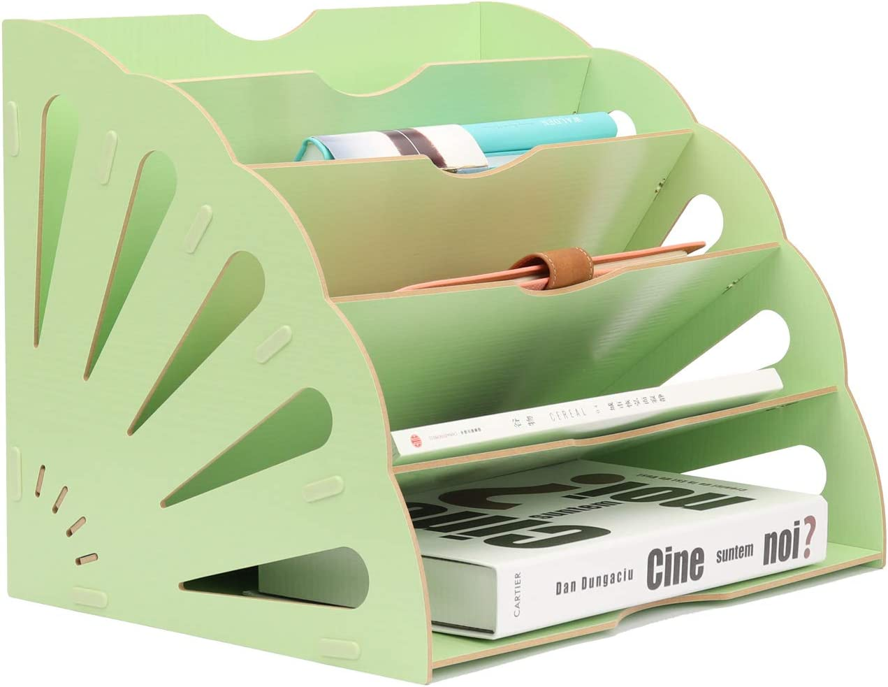 5 Compartments Assembly Wood File Organizer, Buckle Design Desktop Fan-Shaped Mail Letter Document Magazine File Folder Holder Wooden Assembly Divider Office Tabletop Basket Sorter Storage Box, Green