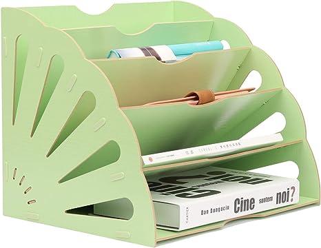 EasyPAG Fan-Shaped Desk File Organizer 6 Compartment Magazine Holder Black