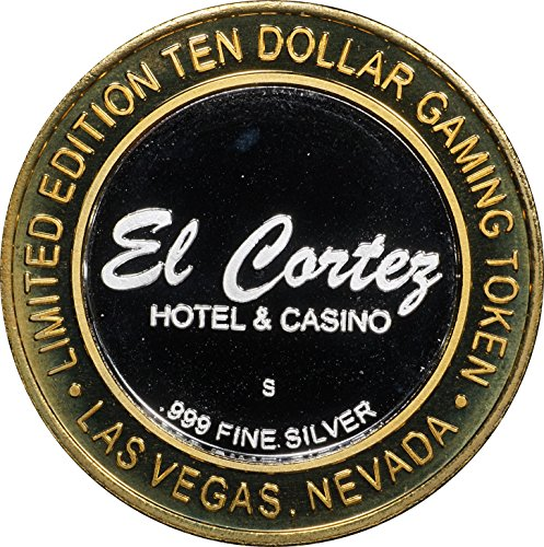 1990 Era EL CORTEZ CASINO Limited Edition Ten Dollar Silver Gaming Token, Random Design Uncirculated
