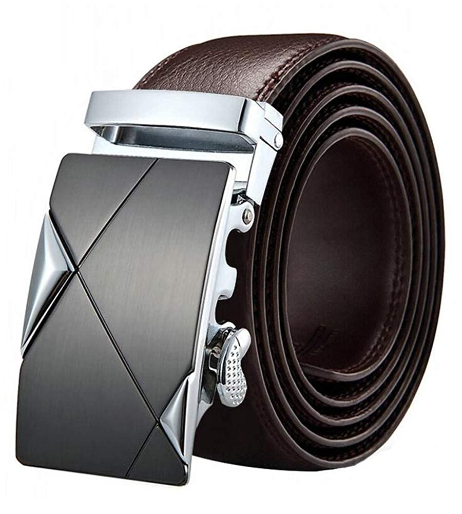 Mens Ratchet Slide Belts Leather Automatic Buckle#011