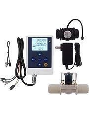 "DIGITEN Water Flow Control Meter LCD Display Controller+G1"" Water Flow Hall Effect Sensor Switch Flow Meter 1-60L/min+G1"" Solenoid Valve Normally Closed N/C+DC 12V Power Adapter"