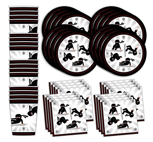 Bestie Planet Ninja Birthday Party Supplies - Cups, Napkins, Plates - 48 Pieces – Ninja Party Supplies For a Ninja Skills or Gymnastics Gathering and Ninja Warrior Celebrations -