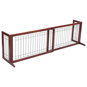 Amazon.com : CHOOSEandBUY Solid Wood Adjustable Free Stand Dog Gate ...