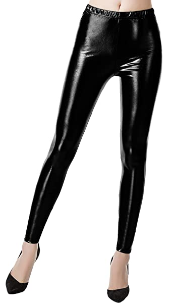 e2ff0aab95ab9 Image Unavailable. Image not available for. Color: Radish Stars Women  Liquid Wet Look Leggings, Shiny Metallic ...