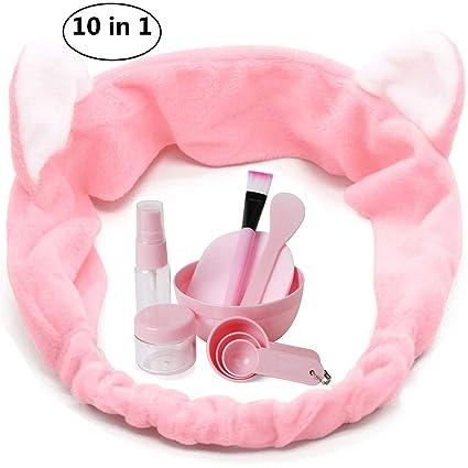 Kit de máscara facial Forma de gato Diadema Cepillo de aerosol Stick Bowl Espátula Puff Medida