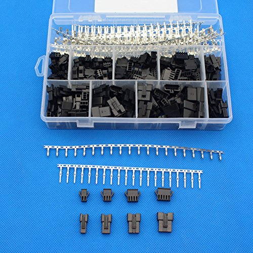 Raogoodcx 560Pcs 2.5mm Pitch 2 3 4 5 Pin JST SM Male & Female Plug Housing and Male/female Pin Header Crimp Terminals Connector Kit (Factory Headers)