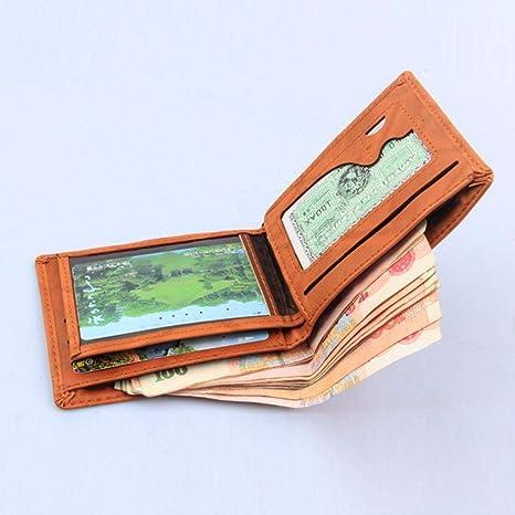 ... Holder Organizer Bifold Wallet La Billetera Corta de los Hombres de la Hoja Billetera de Cuero Cartera de Cuero Monedero: Amazon.es: Ropa y accesorios
