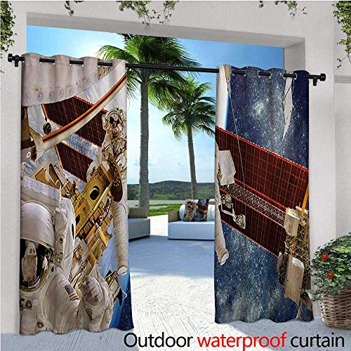 homehot Outer Space Exterior/Outside Curtains International Station Scenery Science Deep Dark Matter Search on Earth Design for Patio Light Block Heat Out Water Proof Drape W120 x L84 Multicolor -