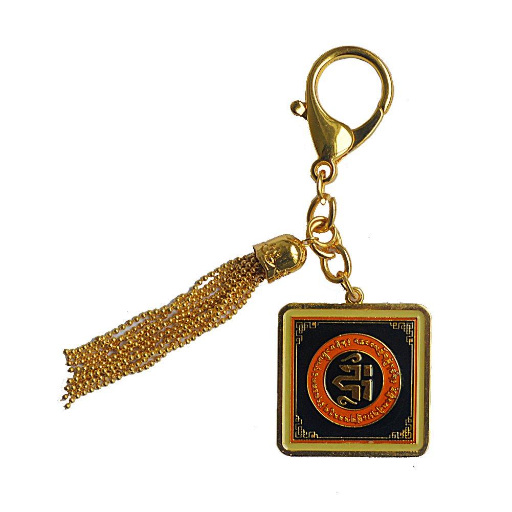 fengshuisale Feng Shui Prosperity Talisman with Earth Element Keychain W Red String Bracelet W1695