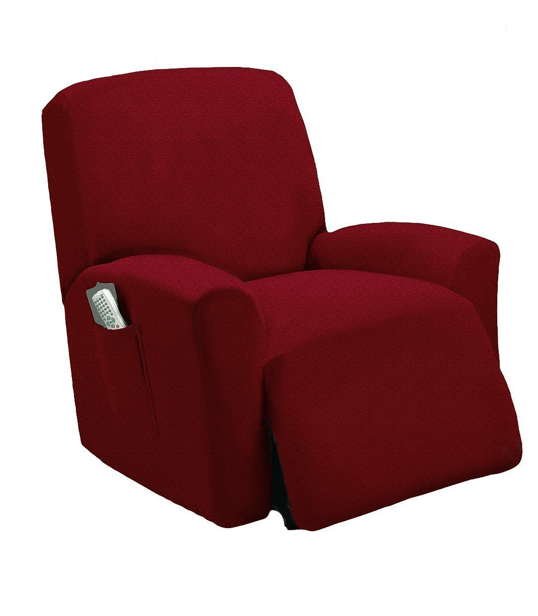 Elegant Home One piece Stretch Sterling Recliner Chair Cover Furniture Slipcovers with Remote Pocket Fit most Recliner Chairs # Stella (Burgundy)
