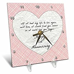 3dRose 1st Anniversary Love You with Faux Paper-Like Background and Design - Desk Clock, 6 by 6-Inch (dc_221891_1)